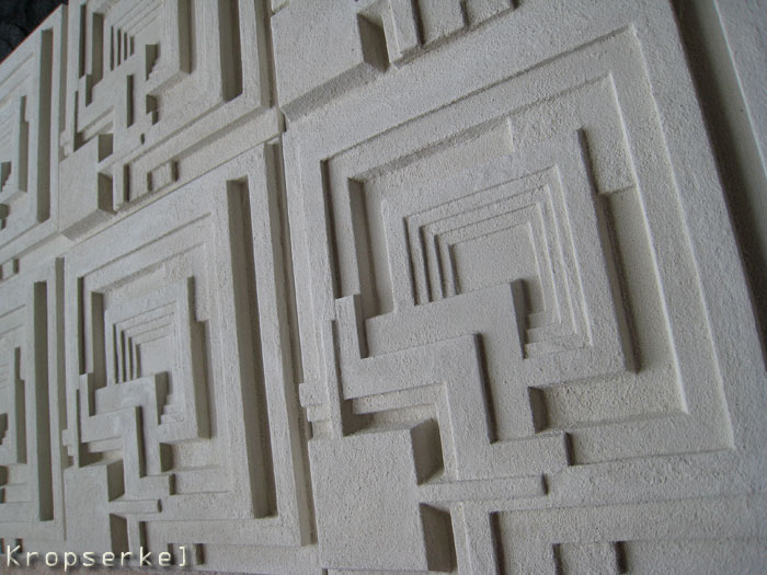 These are stone cast versions of the tiles  They are 16  X 16   40 5cm    and 1 1 4   3 5cm  deep  Also in the works is the accenting blank  and 8  X  8  half. Kropserkel  Bladerunner Deckard Wall Tiles